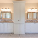 Custom Cabinets with Granite Countertops, glass linear deco, imported Italian deco on floor, with Travertine looking tile